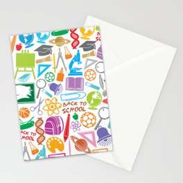 education and school icons background (seamless pattern) Stationery Cards