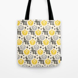 Mid Century Modern Space Flower Pattern Gray and Yellow Tote Bag
