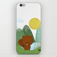 beaver iPhone & iPod Skins featuring little beaver by Proyecto Melón