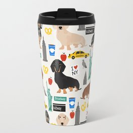 Dachshund dog breed NYC new york city pet pattern doxie coats dapple merle red black and tan Travel Mug