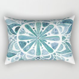 Watercolor Mandala III blue green Rectangular Pillow