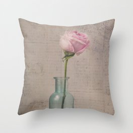 Pink Rose with French Script Throw Pillow