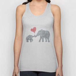 Elephant Hugs with Heart in Muted Gray and Red Unisex Tank Top