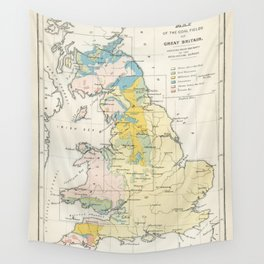 Vintage Map of the Coal Fields of Great Britain Wall Tapestry
