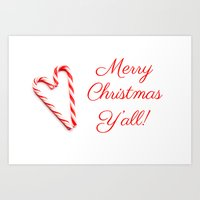 Merry Christmas Y'all Candy Cane Art Print