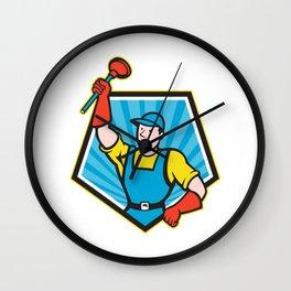 Super Plumber Wielding Plunger Pentagon Cartoon Wall Clock