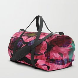 vintage old skull portrait with red and blue flower pattern abstract background Duffle Bag