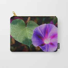 Beautiful Single Morning Glory Flower and Leaf Carry-All Pouch