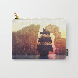 A pirate ship off an island at a sunset Carry-All Pouch