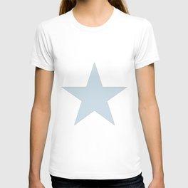 Single dove gray star on white T-shirt