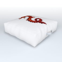Mythical Red Dragon Outdoor Floor Cushion