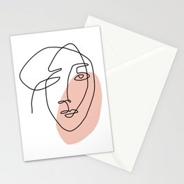 One Line Art Face Sketch Stationery Cards