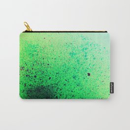 Electric Green and Black Paint Splatter Carry-All Pouch