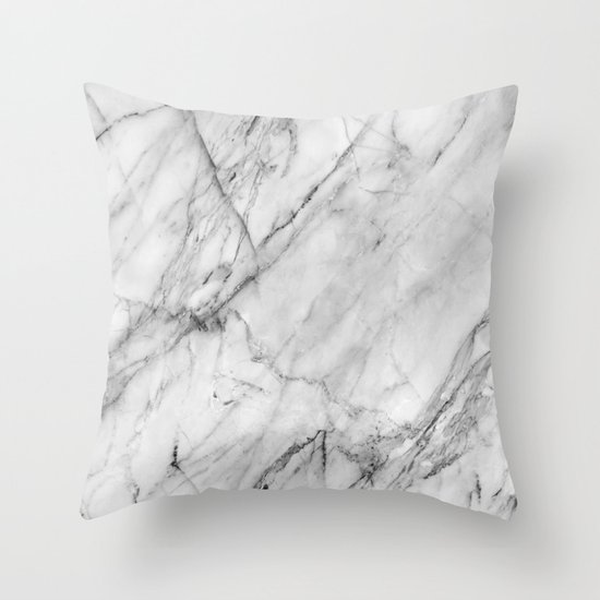 Marble throw pillow by patterns and textures society6 for Black and white marble bedding