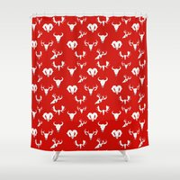 skulls Shower Curtains featuring Skulls by Suzz in Colour