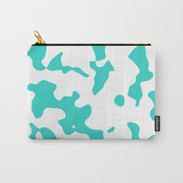 Large Spots - White and Turquoise Carry-All Pouch