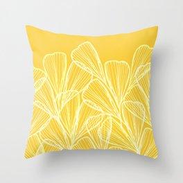 Golden Yellow Flora Throw Pillow