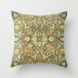 Safavid 'Polonaise' 17th Century Persian Carpet Print Throw Pillow