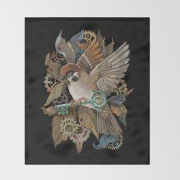 Clockwork Sparrow Throw Blanket