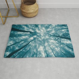 Smoky Mountain Summer Forest Teal - National Park Nature Photography Rug