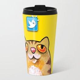 Cat love twitter bir yellow Travel Mug