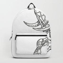 Bull  Elephant Head Doodle Art Backpack
