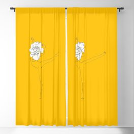 Gardenia Girl · Flower Woman drawing, white, honey gold yellow background, simple line Blackout Curtain