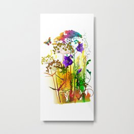 Tropical floral colorful painting with field plants,flowers and butterfly. Summer landscape Metal Print