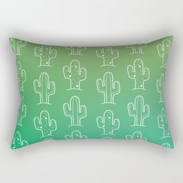 Green Cactus Print Rectangular Pillow