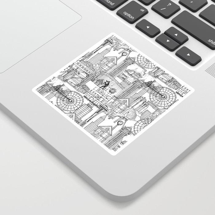 Seattle black white Sticker