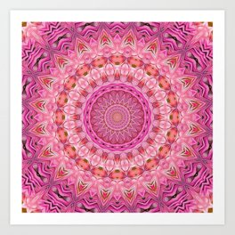 Kaleidoscope Mandala Vibrant Pinks Art Print
