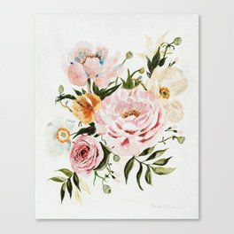 Loose Peonies & Poppies Floral Bouquet Canvas Print