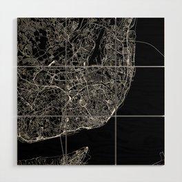 Lisbon Black Map Wood Wall Art