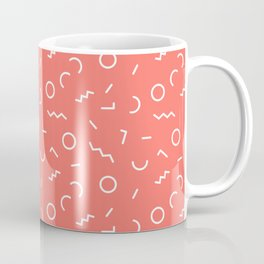 Memphis Style Abstract Pattern (Pantone Living Coral) Coffee Mug