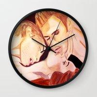 vampire diaries Wall Clocks featuring The Vampire Diaries  by Jonboistars