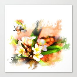 Beautiful tropical flowers on white Canvas Print