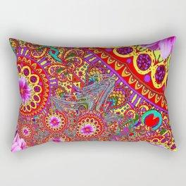 BOHEMIAN  FUCHSIA FLORALS  IN RED-YELLOW COLOR ART Rectangular Pillow