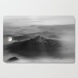 The West is Burning - Mt Shasta Black and White Cutting Board