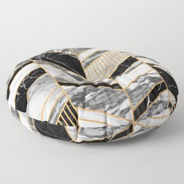 Abstract Chevron Pattern - Black and White Marble Floor Pillow