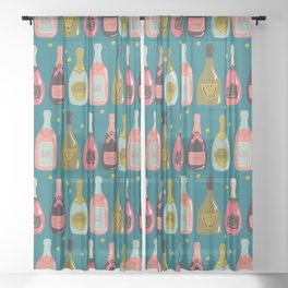 Champagne Cheers Blue Sheer Curtain