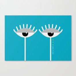 Unamused Eyes | White on Blue Canvas Print