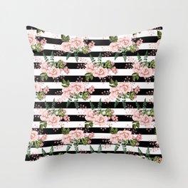 Black & White Stripes With Blush Flowers Throw Pillow