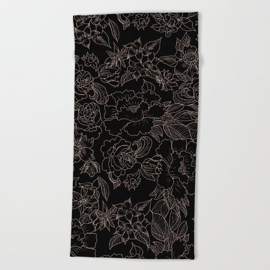 Pink coral tan black floral illustration pattern Beach Towel