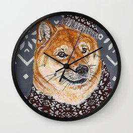Shiba Inu in a  Hat and Scarf Wall Clock