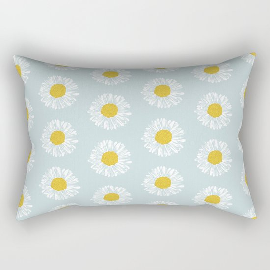 Daisy pattern basic flowers floral blossom botanical print charlotte winter Rectangular Pillow