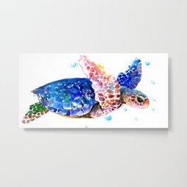 Sea Turtle, blue rainbow Metal Print