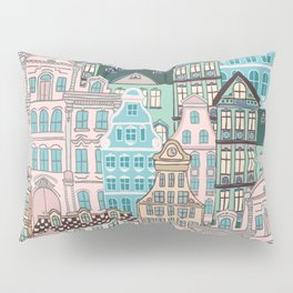 City Houses in Pastel Colours Pillow Sham