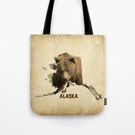 Alaskan Grizzly Map Tote Bag