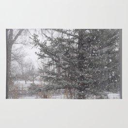 Soft snow falling Rug
