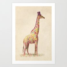 Fashionable Giraffe Art Print